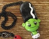 Bride of Frankenstein Polymer Clay Necklace