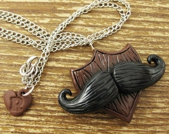 Moustache Trophy Polymer Clay Necklace