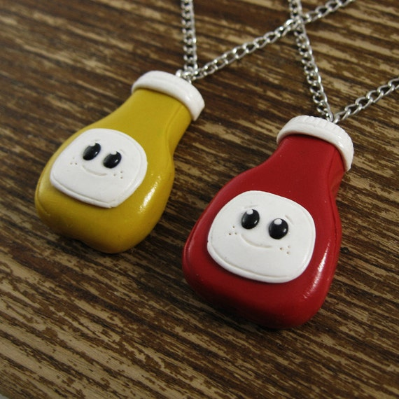 Best Friends Necklace Set - Ketchup and Mustard