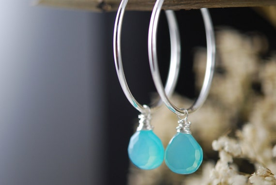 Clip on hoops with Aqua chalcedony