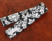 Removable Black and White Dandy Damask SLR Digital Camera Strap Slipcover