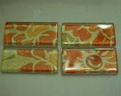 Antique Flower Glass Magnets - Set of 4