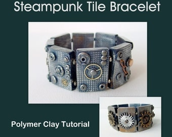 Steampunk Polymer Clay Tiles - Stretch Bracelet - Polymer Clay Tutorial - Digital PDF File Download