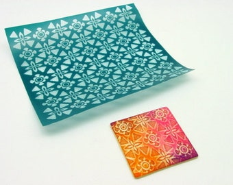 Floral Kawaii Silkscreen for Polymer clay and Crafts