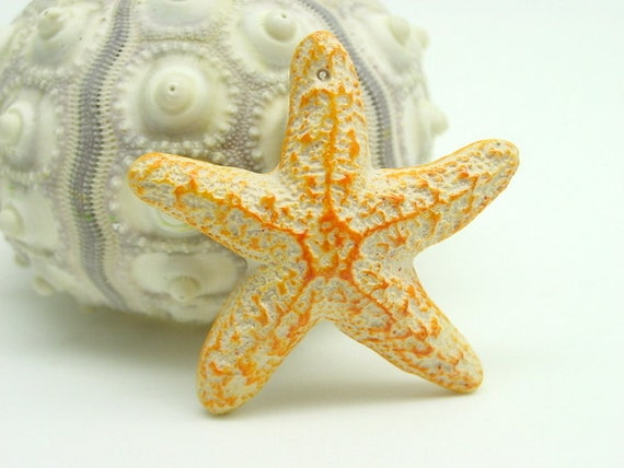 48mm amber orange handmade Sea Star Pendant
