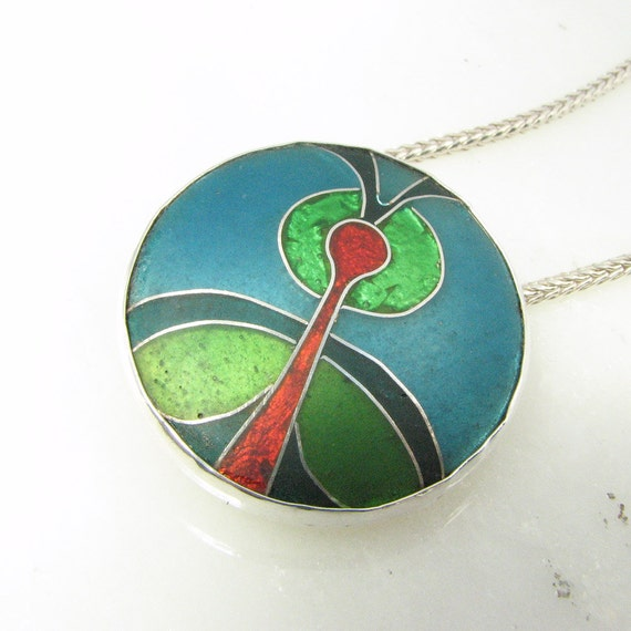Cloisonné enamel statement necklace, hand fabricated,  in vibrant blue green and red - cloisonné jewelry - unique jewelry - ooak