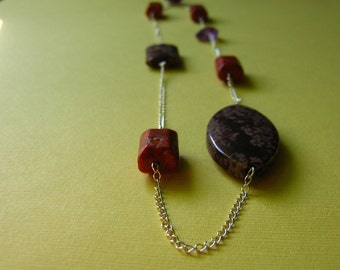 Leopard Skin Jasper and Coral Necklace with Sterling Silver chain
