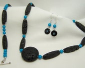 Hot Lava Necklace Set Lava and Howlite Make a Smoking Combination