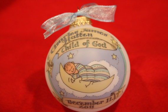 Baby Boy Baptism Baby in the Moon Keepsake Ornament, Handpainted, Personalized, and totally Original, WITHOUT Display Stand