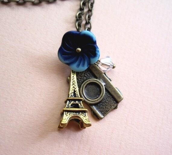 Summer In Paris Eiffel Tower Necklace Camera Czech Flower Swarovski