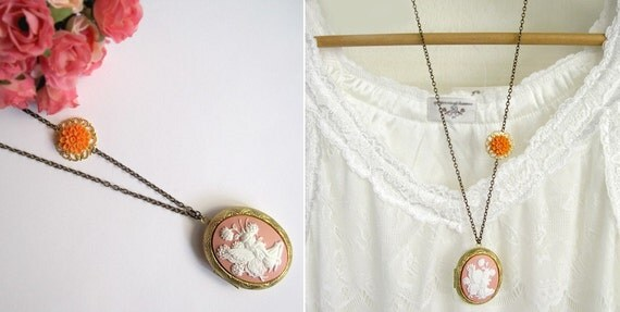 Garden White Fairy Locket Long Necklace