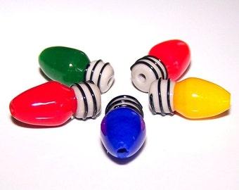 Handmade Lampwork Set of 5 Old School Christmas Light  Beads by Cara