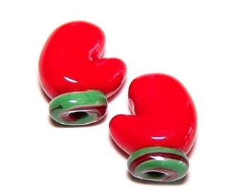 Handmade Lampwork Glass Beads Mittens From the Mitten by Cara