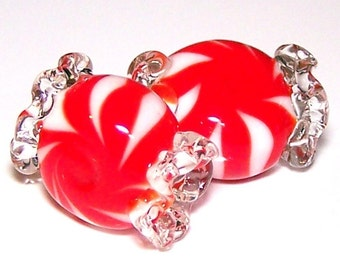 Handmade Lampwork Glass Beads Peppermint Candy by Cara