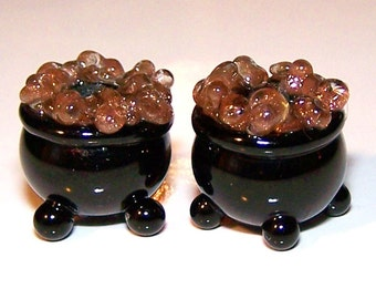 Handmade Lampwork Glass End of the Rainbow Lampwork Pot of Gold Beads by Cara