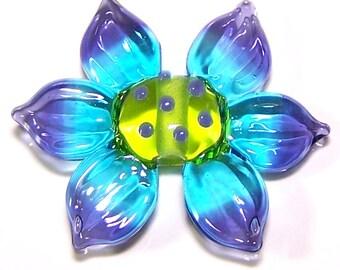 Handmade Lampwork Glass Bead Bright Flower by Cara