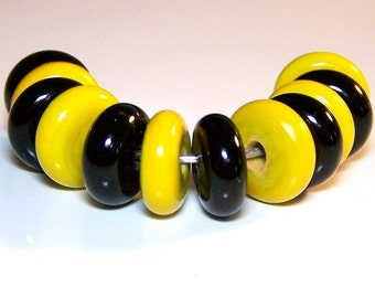 Butternut and Black Candy Style Lampwork Spacer Beads by Cara