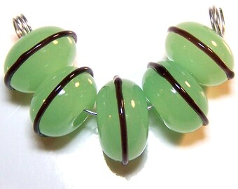Handmade Lampwork Glass  Bright Striped Spacer Beads by Cara