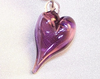 Handmade Lampwork Glass Bead Hollow Bubble Heart by Cara
