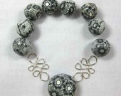 Handcrafted Black and White Polymer Clay Beads