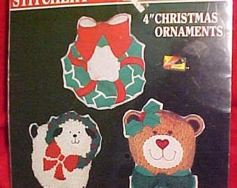 Vintage Christmas Ornament Stitchery Kit | Lamb Bear Wreath