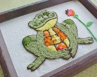 SALE | Vintage Frog Stitchery in Wood Frame -  SALE