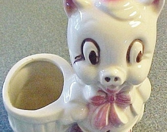 Vintage Little Piggy Ceramic Planter