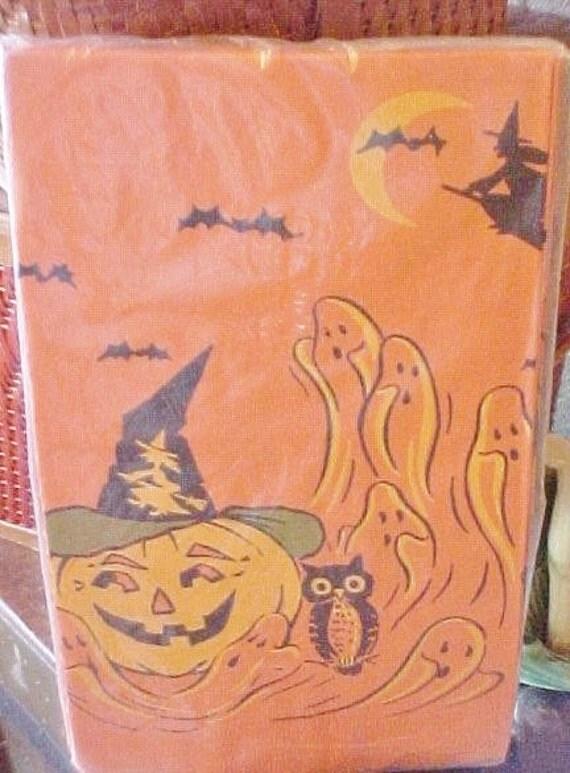 Vintage Halloween Paper Tablecloth, Jack O Lanterns, Owl, Bats, Ghosts
