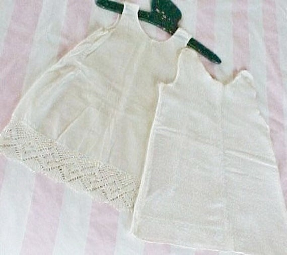 Two Vintage Child Slips, Batiste with Lace and Flannel