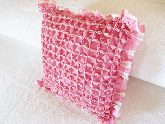 Vintage Smocked Pink Gingham Pillow With Pearls