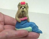 Mermaid Yorkie Dog Sculpture Fantasy Clay 1\/2 Price