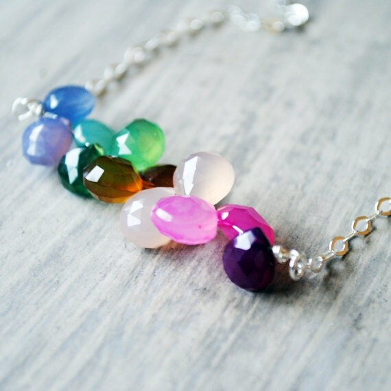 Rainbow Chalcedony Necklace Sterling Silver Gemstones