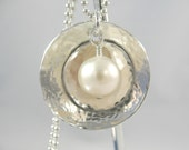 Freshwater Pearls on Hammered, Domed and Riveted Sterling Silver Disc Necklace