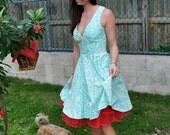 "Deep V Full Circle Dress ""Bijoux Dress""-------------------custom sized and color"