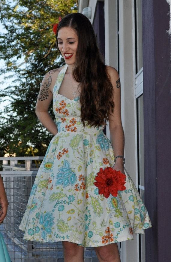 Halter Floral Alex Rose Dress in Bahama Blue S79