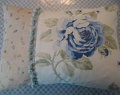 Blue Rose Patchwork Style Cushion\/Pillow with Pom Pom Trim