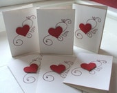 Love Sentiments or Valentine Note Cards - Set of 6