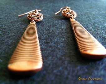 Antiqued copper colored dangle, earrings