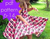 Circle Flounce Dress PDF Sewing Pattern - nb-5t or 6-14 and doll /preemie