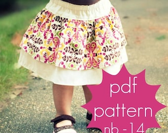 Double Layer Ruffle Skirt - INSTANT download - pdf sewing pattern - nb-14, 3 length options