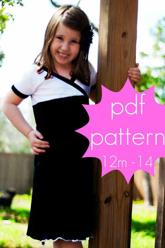 Crossover Tunic and Dress - INSTANT download - 12m - 14 - wrap - pdf sewing pattern