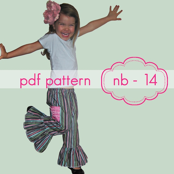 Mega Ruffle Pants - INSTANT download - shorts, capris, full lengths - nb-14 - pdf sewing pattern