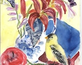 Goldfinch and lilies