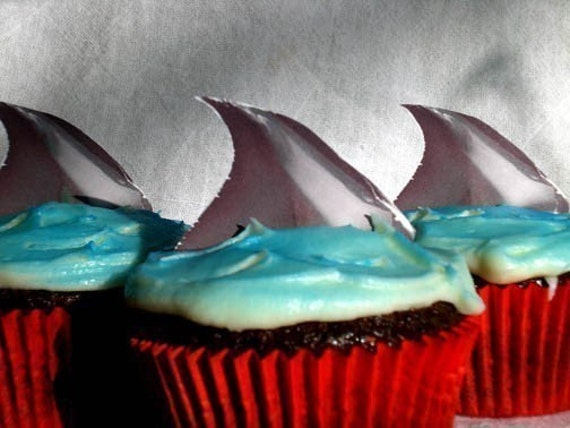 Shark Attack Cupcake Toppers