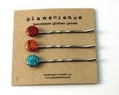 glitter and  resin bobby pin set