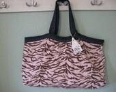PRICE SLASHED    the BIG bag pink and brown tiger stripe and dark dark denim