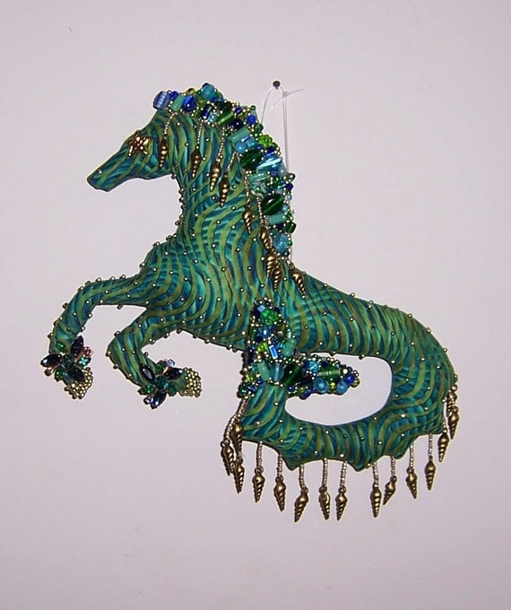 ooak mythical beaded seahorse cloth doll 11in by 9in