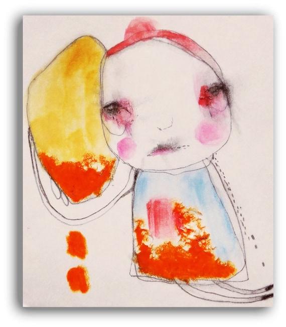 "Original Illustration Painting Sad Emotional Watercolor Raw Art - ""Properly Spent""  by Christina Romeo"