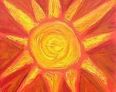 SALE Original Texture Painting - Fiesta Sun - 8x8