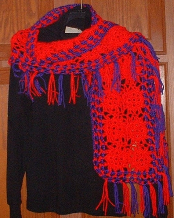 Wrap Scarf, Red and Purple, Crochet
